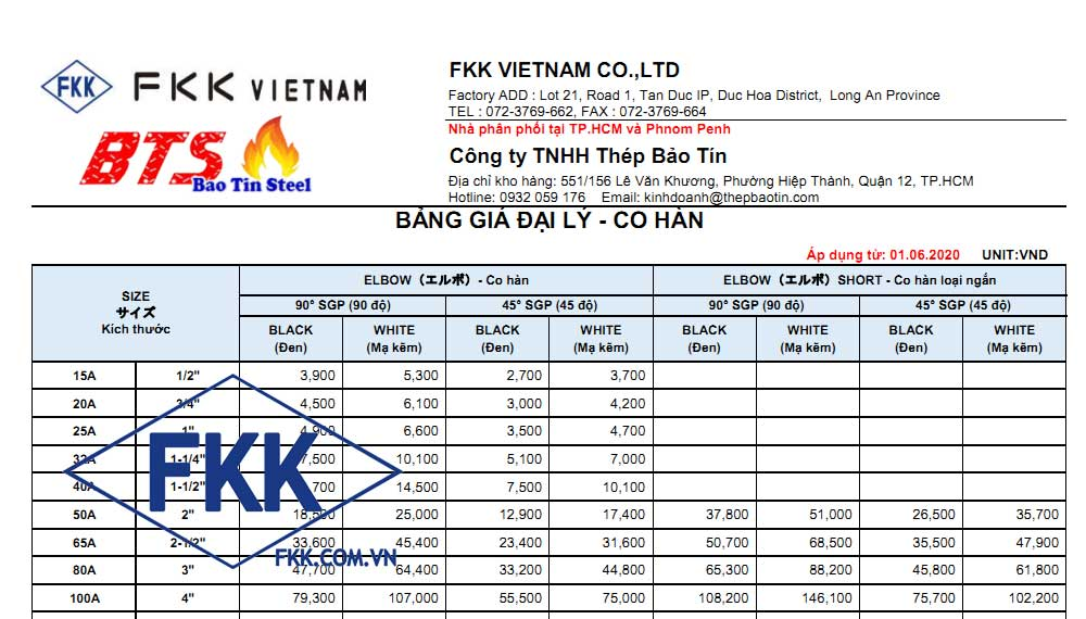 bảng giá co hàn fkk 2020